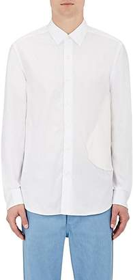 Loewe Men's Faux-Leather-Patch Shirt - White