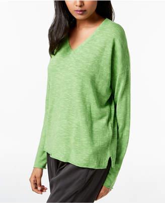 Eileen Fisher Organic Linen Cotton Vented-Hem Sweater, Regular & Petite