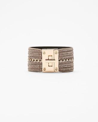 Express Rhinestone Chain Turnlock Cuff Bracelet