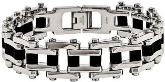 FINE JEWELRY Mens Stainless Steel & Black Rubber Chain Bracelet