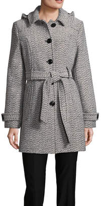 Liz Claiborne Belted Heavyweight Overcoat