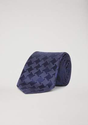 Emporio Armani Pure Silk Scarf With Houndstooth Pattern