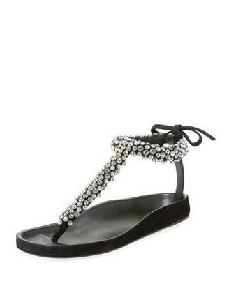 Isabel Marant Emita Jeweled Flat T-Strap Sandal