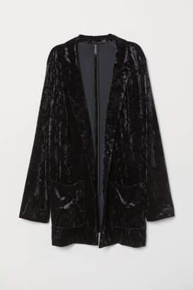 H&M H&M+ Crushed-velvet Jacket - Black