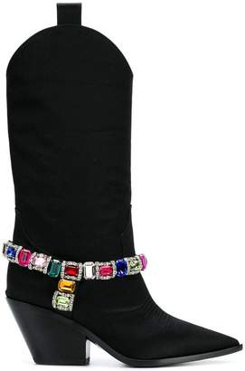 Casadei stone embellished cowboy boots