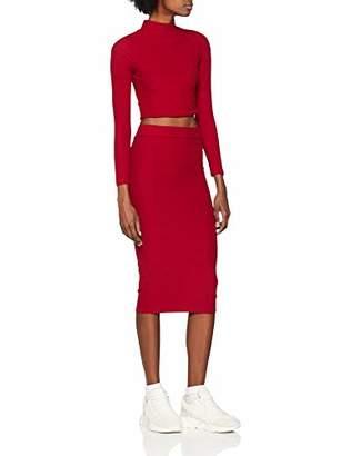 NEON COCO Women's High Neck Long Sleeve Crop Top & Bodycon Midi Skirt Co-ords Set Party Dress,Medium