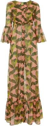 C'est La V Chemisier Leaf-Printed Maxi Dress