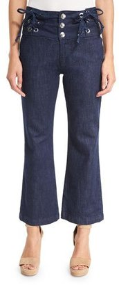 See by Chloe Cropped Chambray High-Rise Flare Trousers, Blue $360 thestylecure.com