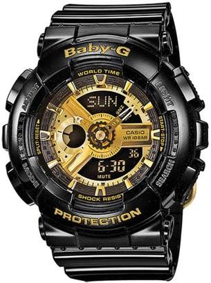 Baby-G Casio  Women's Quartz Watch with Dial Analogue - Digital Display and Black Resin Strap BA-110-1AER