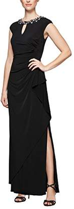 Alex Evenings Women's Cap Sleeve Fit and Flare Gown with Embellished Waist