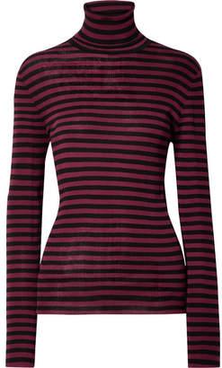 Saint Laurent (サン ローラン) - SAINT LAURENT - Striped Ribbed Cotton Turtleneck Sweater - Black