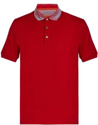 Missoni Contrast Collar Cotton Polo Shirt - Mens - Red