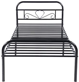 GreenForest Twin Bed Frame Metal Platform Mattress Base Black Bed with Vintage Headboard Box Spring Replacement