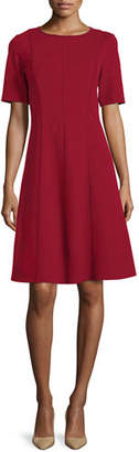 Lafayette 148 New York Seamed Short-Sleeve Fit & Flare Dress, Plus Size
