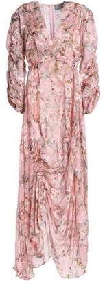 Preen by Thornton Bregazzi Ruched Floral-Print Devoré-Chiffon Maxi Dress