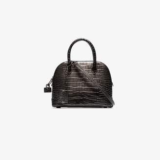 Balenciaga grey Ville small croc-embossed leather shoulder bag