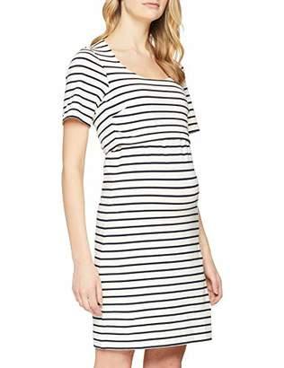 f0bd8534c5172 Boob Women's Maternity Nursing Dress Simone s/s, White (Tofu/Midnight Blue