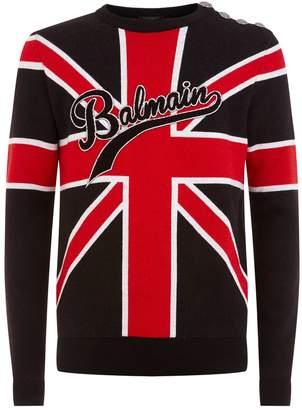 Balmain Union Flag Logo Sweater