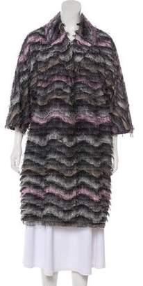 Diane von Furstenberg Fringe Trim Long Coat