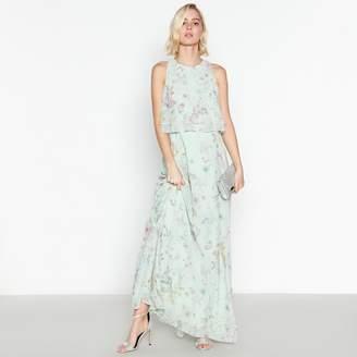 Debut - Pale Green Floral Print  Darcy  Chiffon Maxi Dress fb4c5bdf2