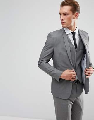 Design DESIGN slim suit jacket in mid grey