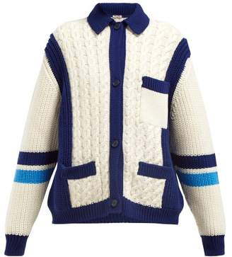 Miu Miu Intarsia Stripe And Cable Knit Wool Cardigan - Womens - Ivory Multi