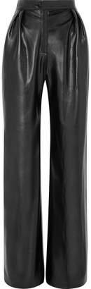 MATÉRIEL Pleated Faux Leather Wide-leg Pants - Black