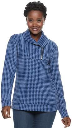 Croft & Barrow Petite Shawl Collar 1/4-Zip Jacquard Sweatshirt