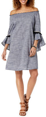 Style&Co. STYLE & CO. Off-the-Shoulder Bell Sleeve Shift Dress