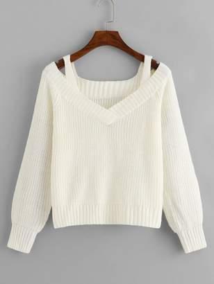 Shein Cold Shoulder V Neck Sweater