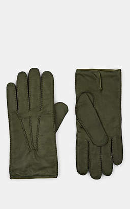 Barneys New York Men's Cashmere-Lined Deerskin Gloves - Green