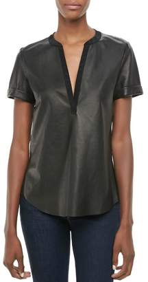 Twelfth Street By Cynthia Vincent Faux Leather Henley