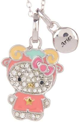 Hello Kitty Zodiac Sterling Silver Pave Crystal Enamel Full Aries Pendant Necklace