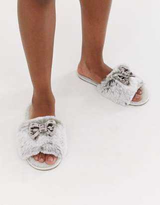 Bedroom Athletics Nadine faux fur slider slipper in gray