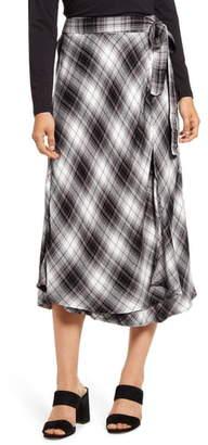 Caslon Plaid Wrap Skirt