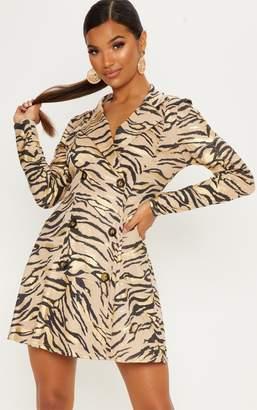 PrettyLittleThing Stone Metallic Tiger Print Blazer Dress