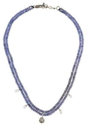 14K Iolite, Diamond & Topaz Bead Strand Necklace