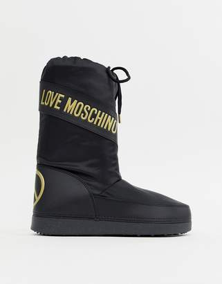 Love Moschino Peace Logo Snow Boots