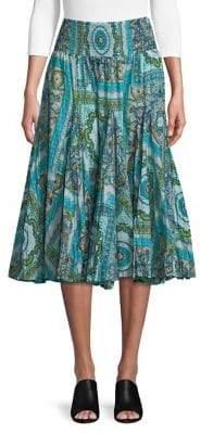 Context Pleated Paisley Border Midi Skirt