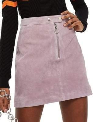 Topshop Suede Popper Mini Skirt