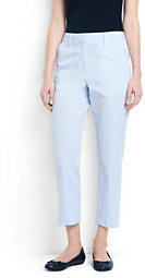 Lands' End Women's Mid Rise Seersucker Crop Pants-Evening Sky Chambray $59 thestylecure.com