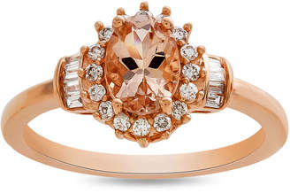 FINE JEWELRY Womens 1/4 CT. T.W. Genuine Pink Morganite 10K Rose Gold Cocktail Ring