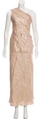 J. Mendel Metallic One-Shoulder Gown