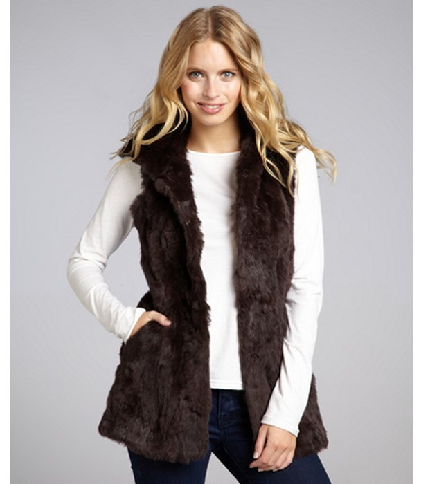 La Fiorentina brown rabbit fur hooded vest