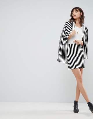 Asos Tailored Mini Skirt in Mono Stripe
