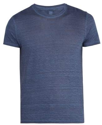 120% Lino Crew Neck Linen T Shirt - Mens - Navy
