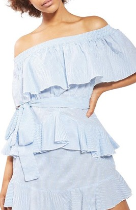 Women's Topshop Bardot Ruffle Stripe Dress $70 thestylecure.com