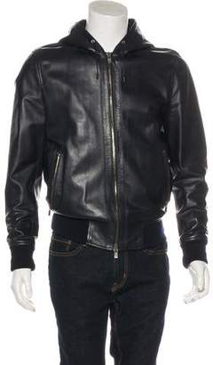 Givenchy Leather Zip-Up Hoodie