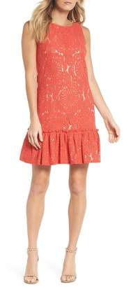 Eliza J Ruffle Hem Lace Shift Dress (Regular & Petite)