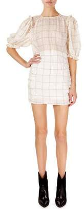 Isabel Marant Adelaide Short-Sleeve Checked Organza Mini Dress